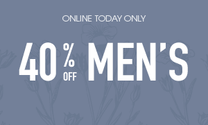 40% off regular priced men's tops and jeans - online only