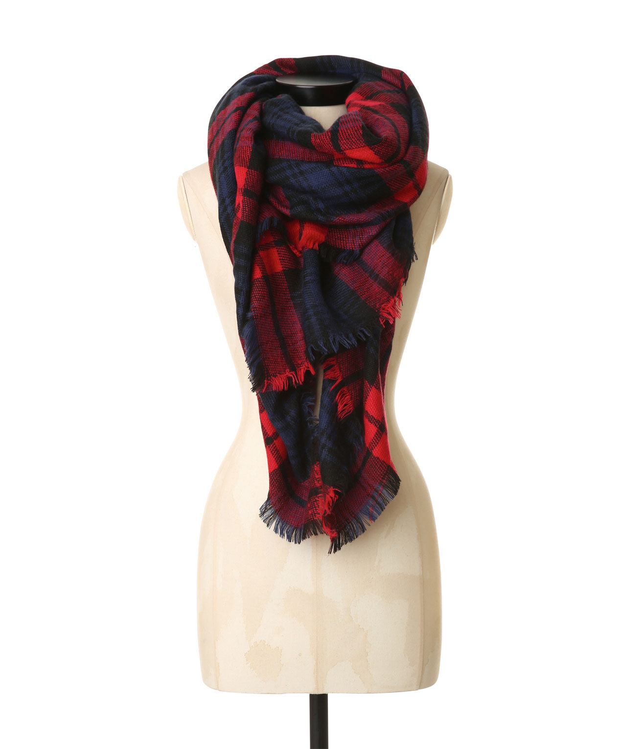08e4a8ae4 large plaid blanket scarf, NAVY/RED, hi-res