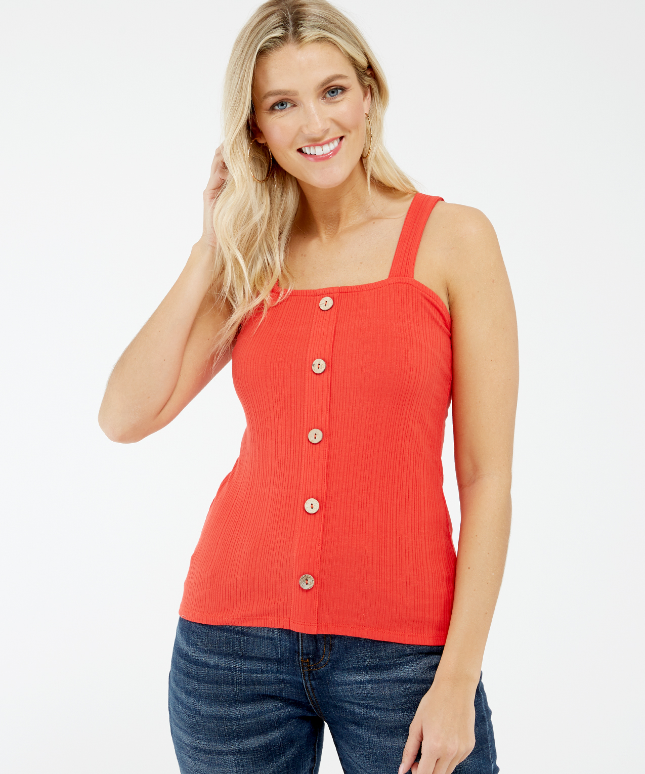 button front tank - wb, Orange, hi-res