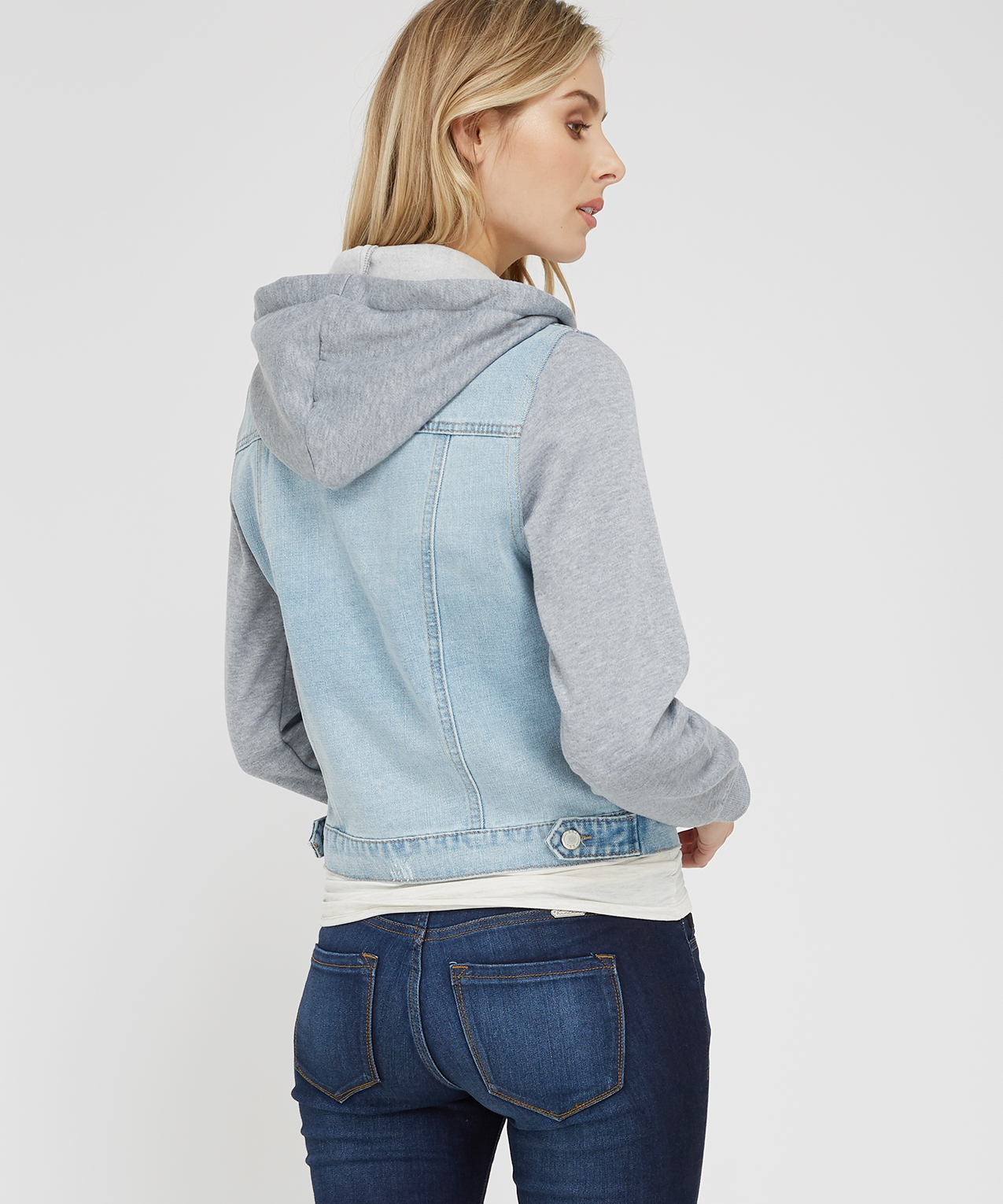 0108a4620a1d22 denim jacket with knit sleeves and hood