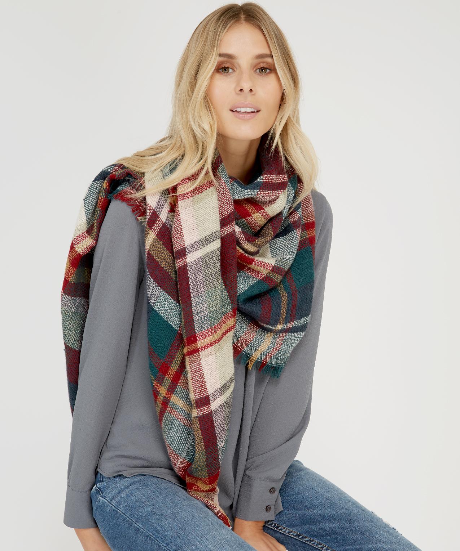 6037e33d20355 plaid blanket scarf, GREEN COMBO, hi-res