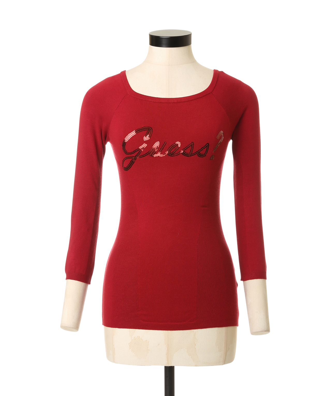 375b12ab sequin logo sweater, RED, hi-res