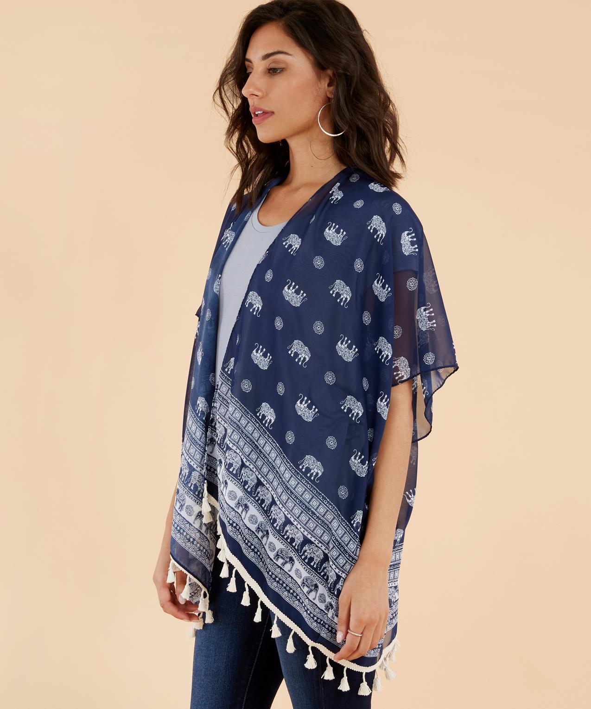 be71b919c chiffon elephant print kimono, NAVY, hi-res ...