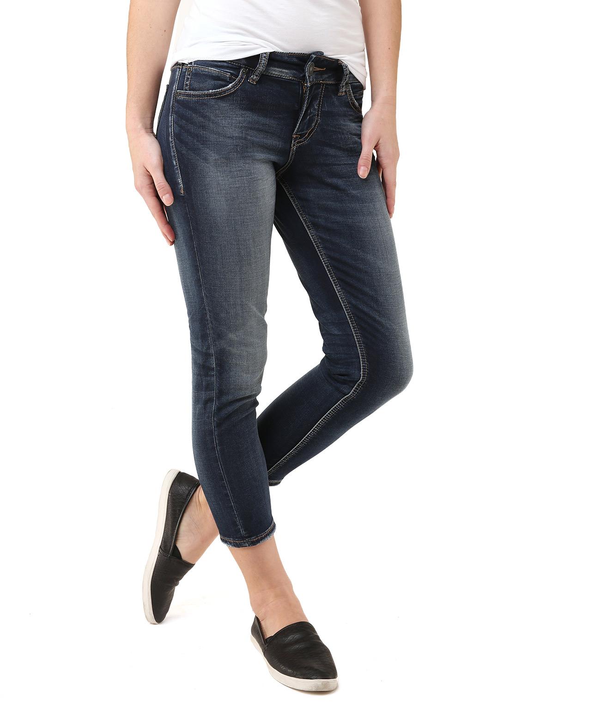 silver jeans damen capri jeanshose suki mid gr w30 l24 herstellergr e 30 blau indigo. Black Bedroom Furniture Sets. Home Design Ideas
