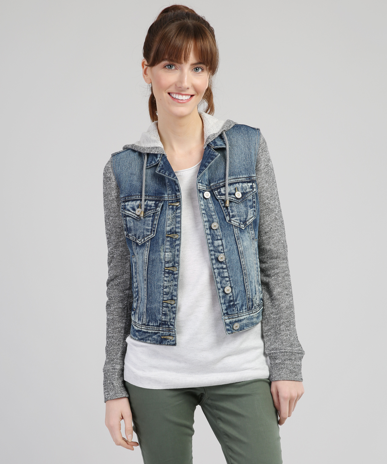 knit denim jacket | silver jeans co