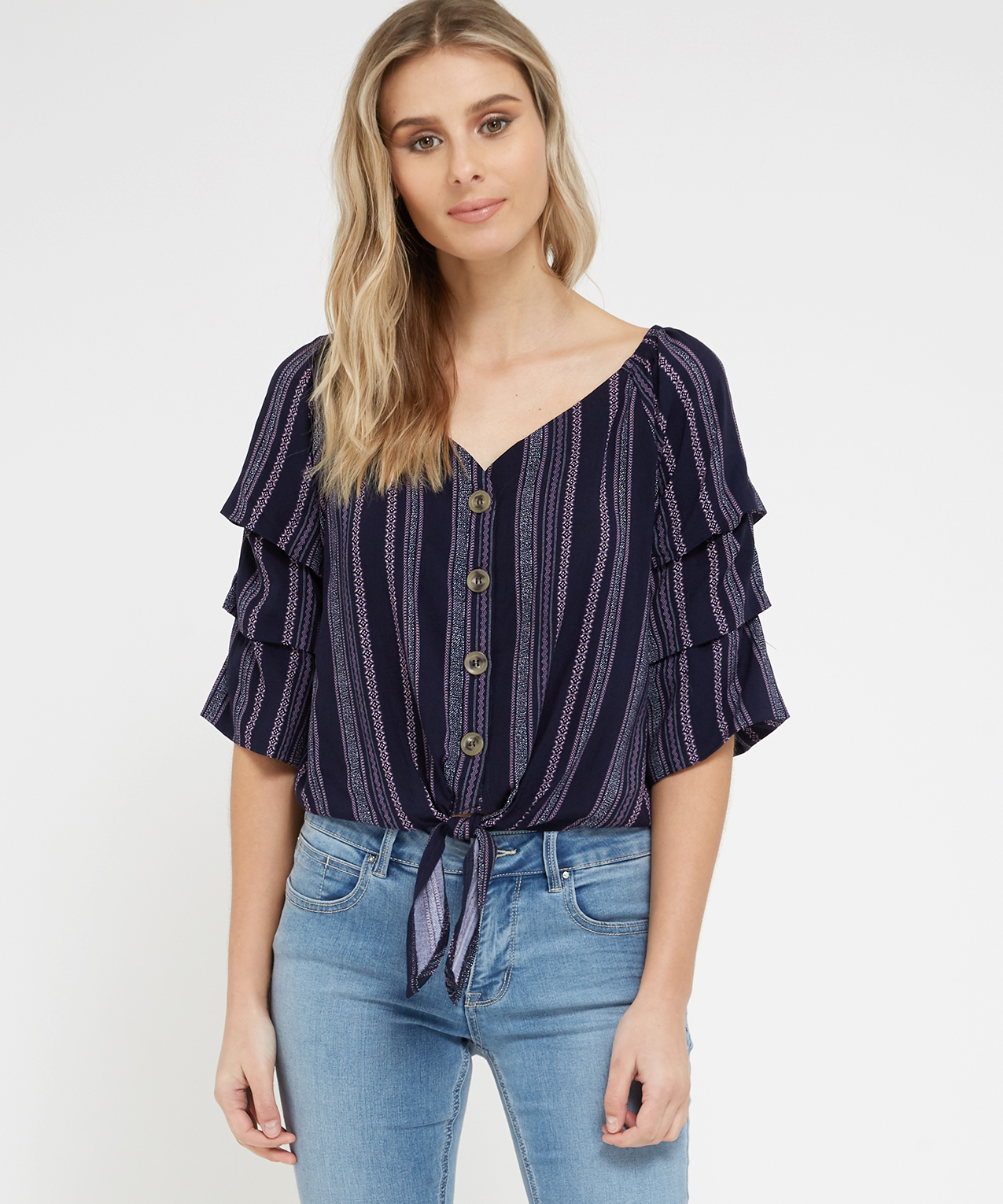 74790cc9cc1 ruffle sleeve peasant top | almost famous