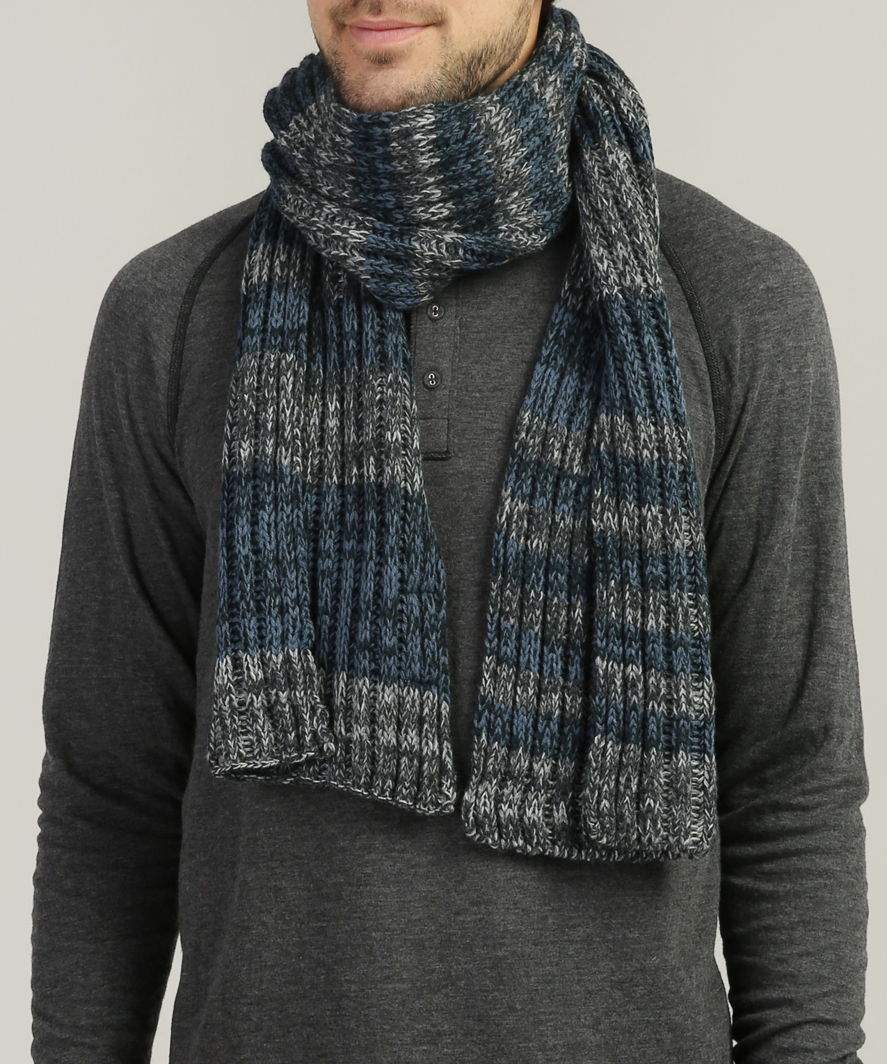 Men S Striped Cable Knit Scarf Bootlegger