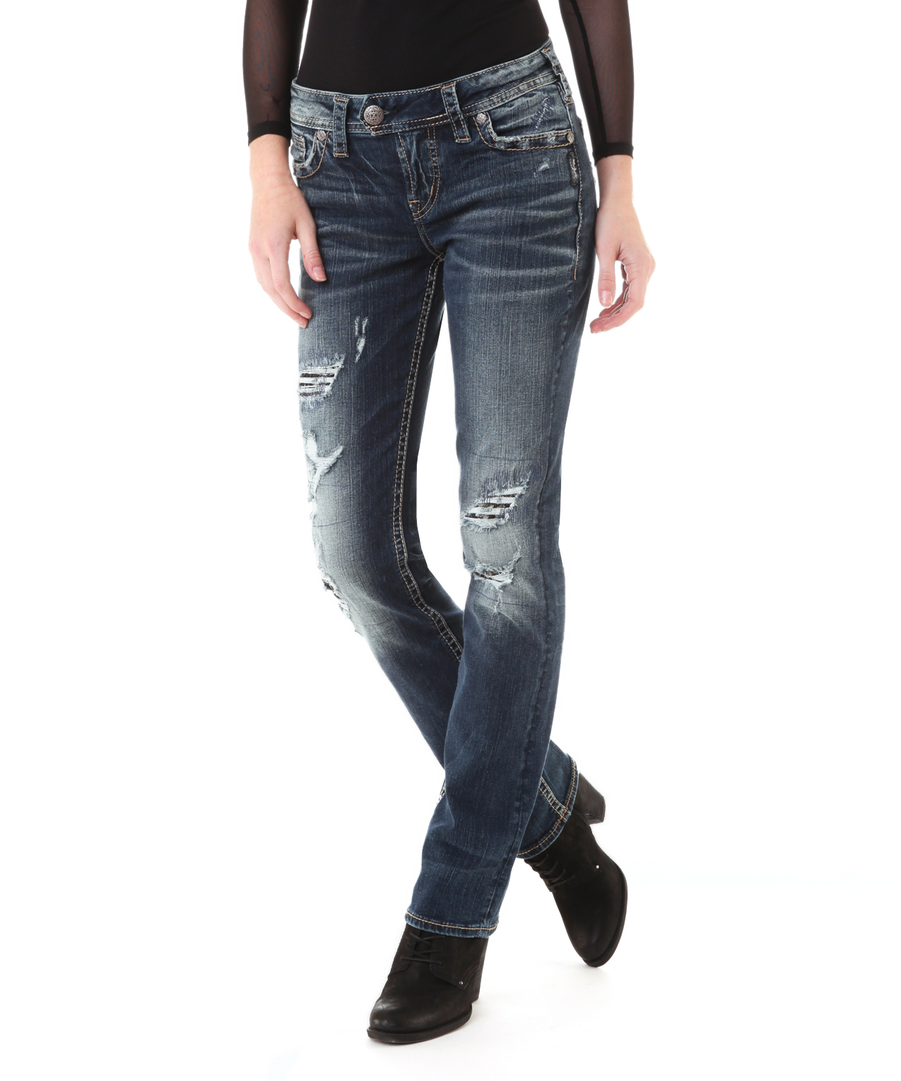 Silver Jeans Womens Tuesday Dark Wash Baby Bootcut Jean