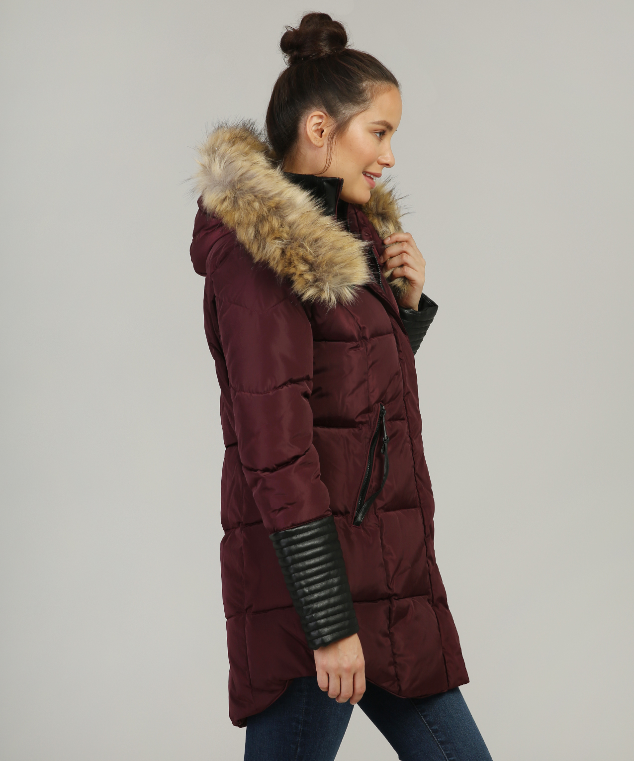 fur lined hood parka with leather sleeve detail | balimel