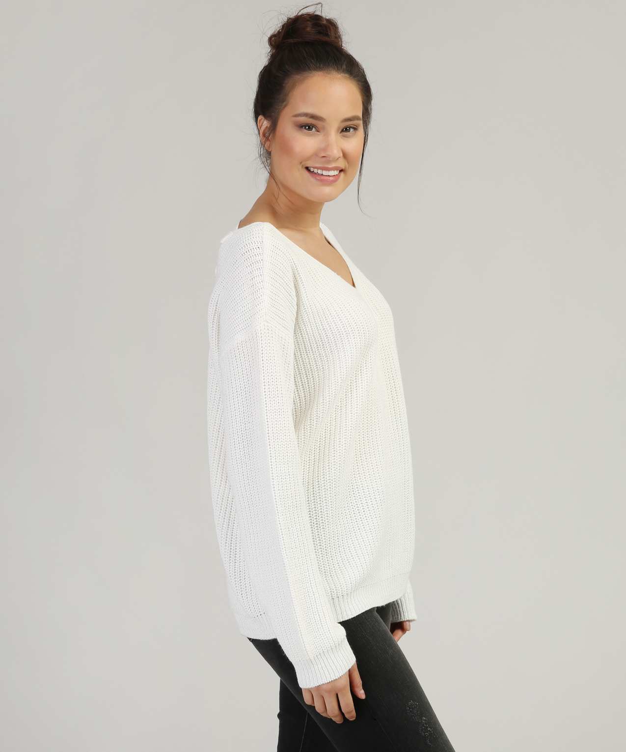 bfb46abdd8 ... lace up back sweater - wb