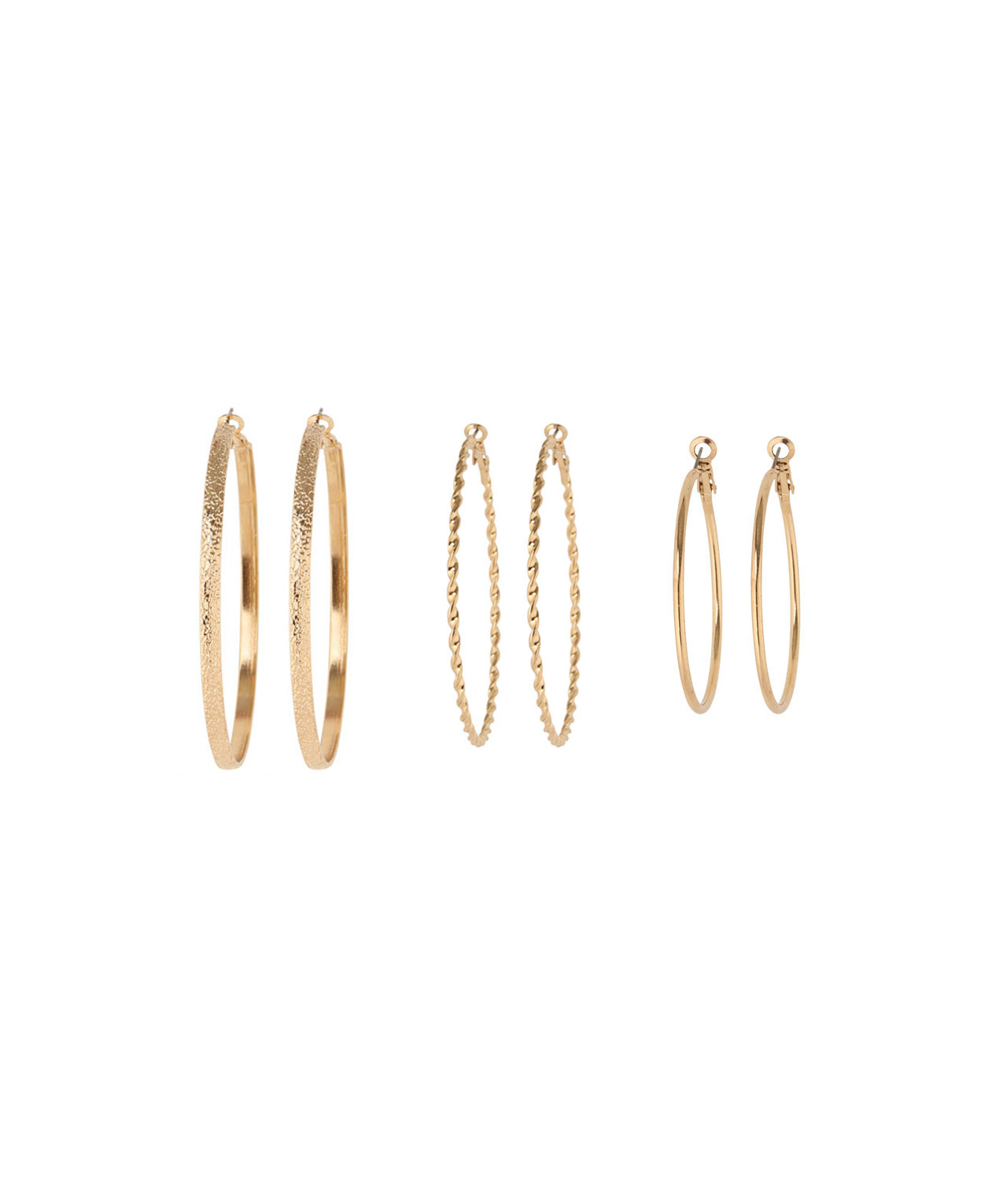 Multi Pack Of Textured Hoop Earrings Gold Hi Res
