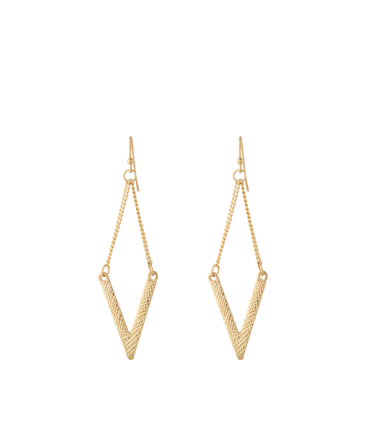 textured chain geo earrings, GOLD, hi-res